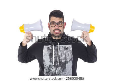 Guy with two megaphone - stock photo