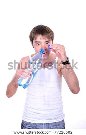guy with water bottle - stock photo