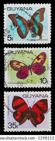 GUYANA - CIRCA 1971: A set of postage stamps printed in GUYANA shows butterfly, series, circa 1971 - stock photo
