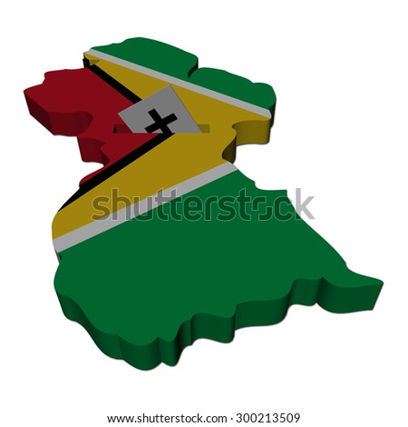 Guyana election map with ballot paper illustration - stock photo