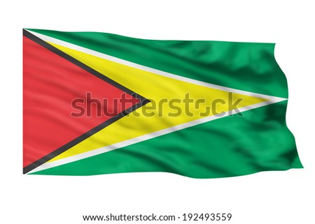 Guyana flag flying high in the sky.