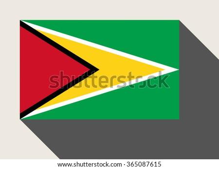 Guyana flag in flat web design style. - stock photo