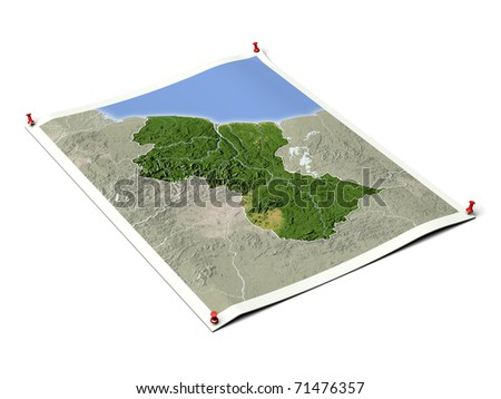 Guyana on unfolded map sheet with thumbtacks. Map colored according to vegetation, with borders. Includes clip path for the background.