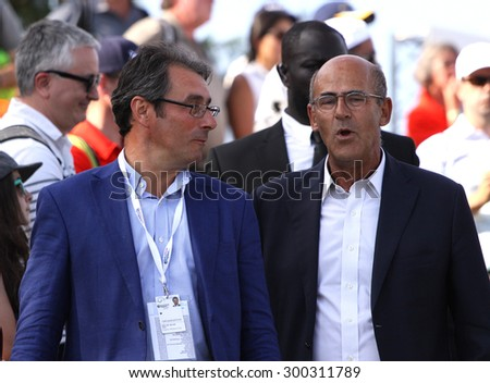 GUYANCOURT , FRANCE, JULY 05, 2015 : Jean Van de Velde and Patrick Kron During the fourth round of the French Open, European golf tour, July 05, 2015 at The golf National, Guyancourt, France.