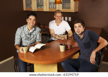 Guys Bible Study Group - stock photo