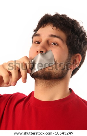 guys with adhesive tape on lips - stock photo