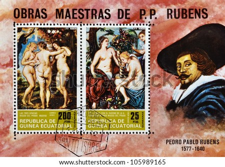"""GVINEANAS ECVATORIAL-CIRCA 1972: A stamp printed in the GVINEANAS ECVATORIAL shows painting """"The three graces"""" by Peter Paul Rubens, detail, circa 1972 - stock photo"""