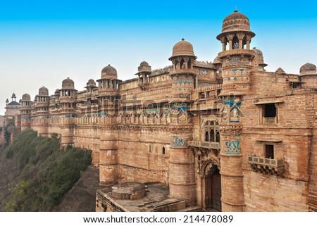 Gwalior Fort in Gwalior, Madhya Pradesh in India - stock photo