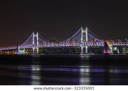 GwangAn Bridge and Haeundae at night in Busan, South Korea.