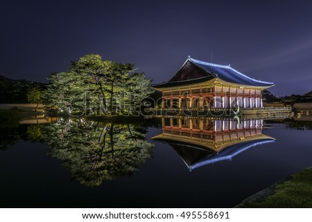 Gyeongbokgung Palace at night in seoul,south Korea.