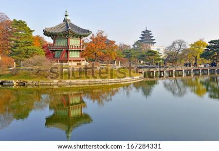 Gyeongbokgung Palace in Autumn, Seoul, South Korea - stock photo