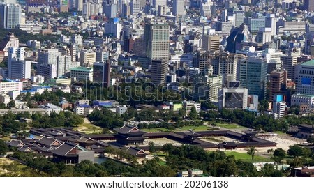 Gyeongbokgung palace in Seoul downtown, South Korea - stock photo