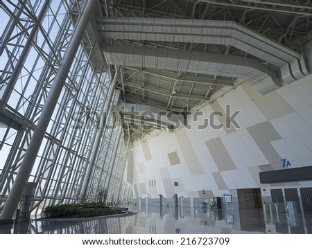GYEONGGI, SOUTH KOREA -MAR 26: Interior of KINTEX (Korea International Exhibition Center) on Mar 26, 2012 in Gyeonggi, South Korea. KINTEX is the largest convention and exhibition center in Korea. - stock photo