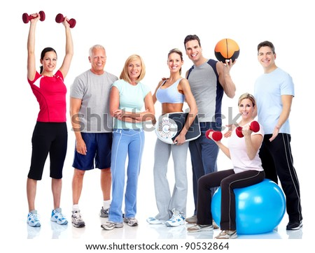 Gym and Fitness. Smiling people. Isolated over white background - stock photo