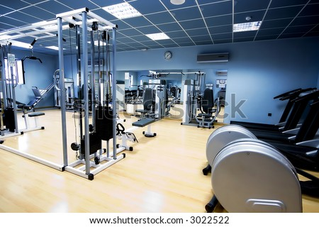 gym and stationary equipment - stock photo