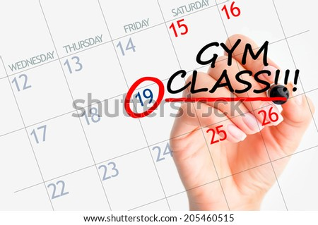 Gym class reminder date - stock photo
