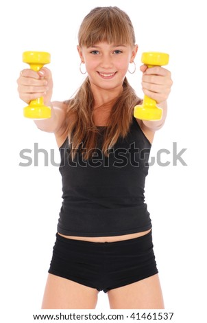 Gym fitness girl training her body with dumbbell on white background