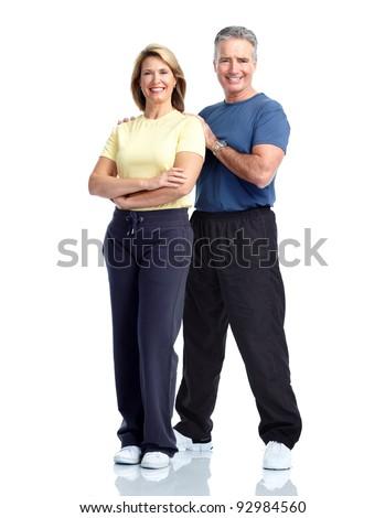Gym, Fitness, healthy lifestyle. Senior couple. Over white background - stock photo