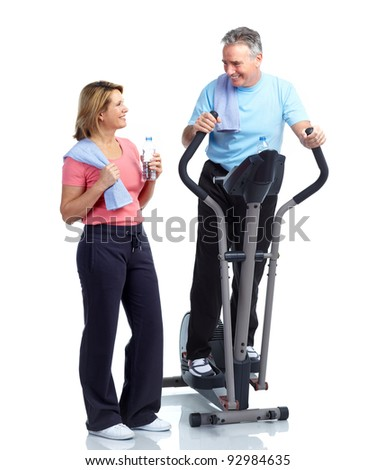 Gym, Fitness, healthy lifestyle. Senior couple. Over white background - stock photo
