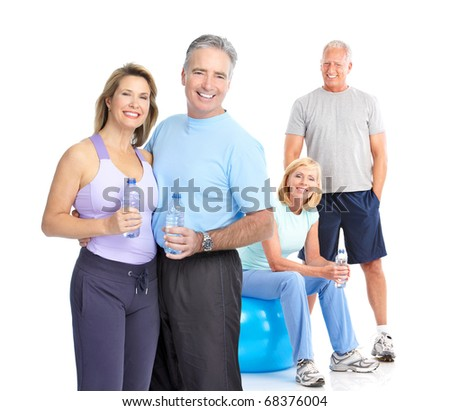 Gym, Fitness, healthy lifestyle. Smiling people. Over white background - stock photo