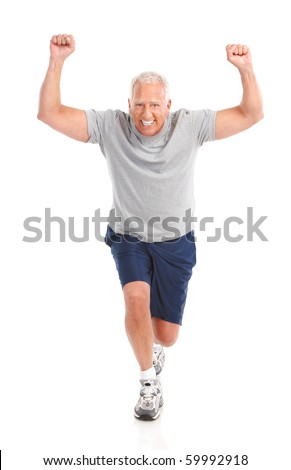 Gym & Fitness. Smiling elderly man  working out. Isolated over white background - stock photo