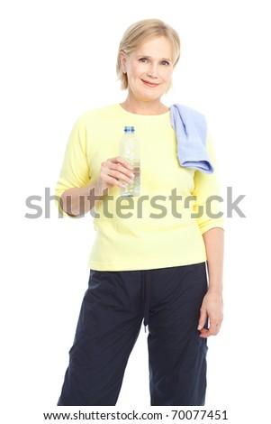 Gym & Fitness. Smiling elderly woman. Isolated over white background - stock photo