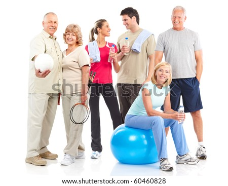 Gym & Fitness. Smiling people . Isolated over white background - stock photo