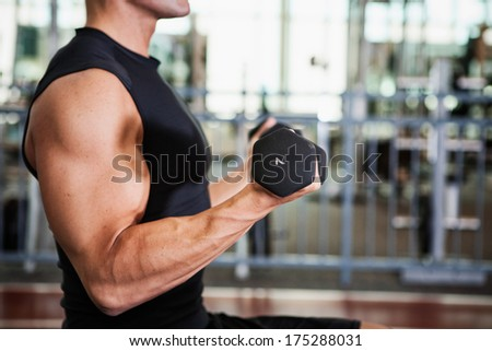 Gym: Muscular Man From Side Using Dumbbells - stock photo