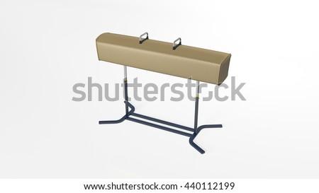 Gym pommel horse, sports equipment isolated on white background, 3D illustration - stock photo