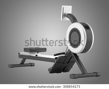 gym rowing machine isolated on gray background