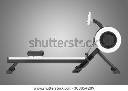 gym rowing machine isolated on gray background - stock photo