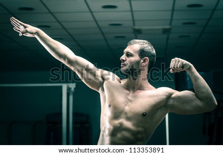 Gym training workout - stock photo