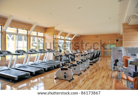 gym with running machine 1-2 - stock photo