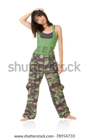 Gym woman doing stretch excise, full length portrait isolated on white background. - stock photo