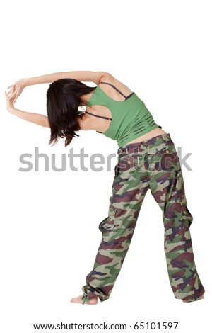 Gym woman doing stretch excise isolated over white background. - stock photo
