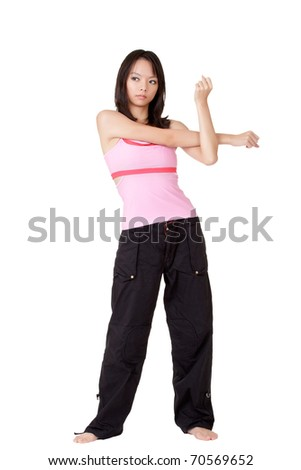 Gym woman doing stretching exercise, full length portrait isolated over white. - stock photo