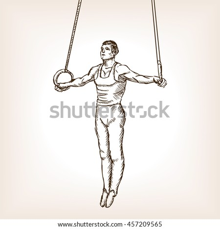 Gymnast on rings sketch style raster illustration. Old engraving imitation.
