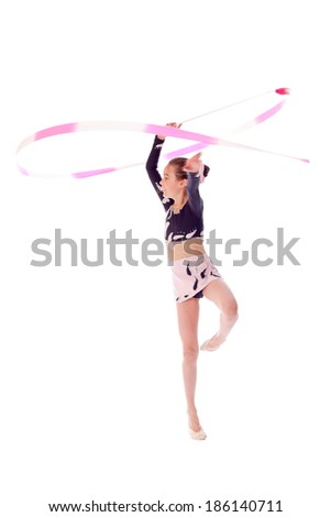 gymnast with ribbon on a white background