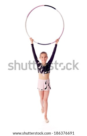 gymnast with the hoop on a white background - stock photo