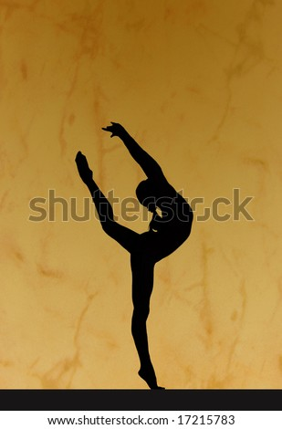 Gymnastic silhouette - stock photo
