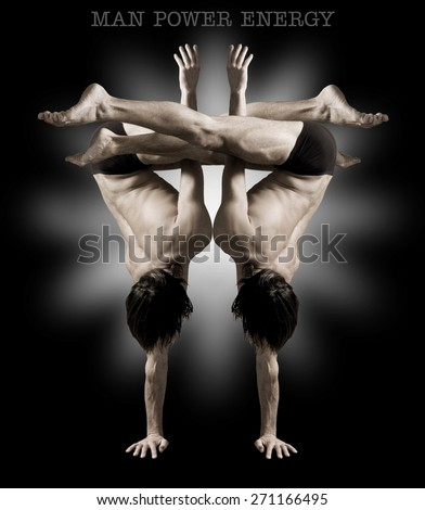 Gymnasts figures on a black background.Athletes.Handstand.Sepia - stock photo