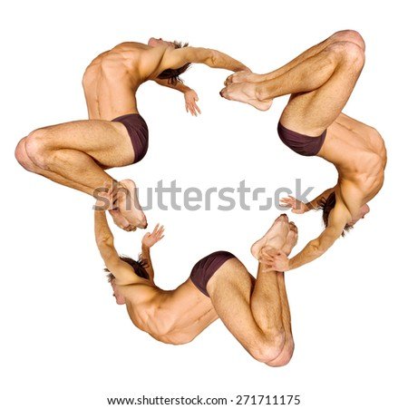 Gymnasts figures on a white background.Athletes.C?ircular motion.Ornament.C?olor image. - stock photo