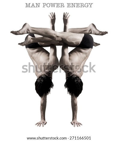Gymnasts figures on a white background.Athletes.Handstand.Sepia - stock photo