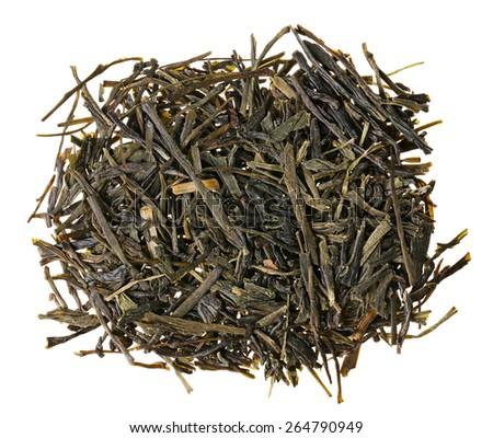 Gyokuro green tea heap isolated on white - stock photo