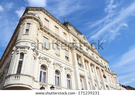 Gyor, Hungary. City in Western Transdanubia region. Old apartment building.