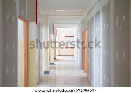 Gypsum Board Wall Interior Decoration Home Stock Photo 691884637