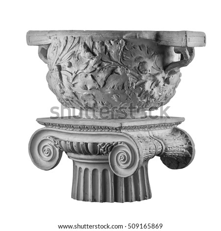 gypsum column with a bowl, a vase with stucco moldings in the form of floral ornament
