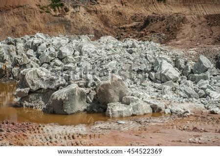 Gypsum mining  - stock photo