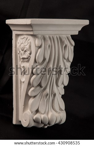 gypsum plaster ornaments column - stock photo