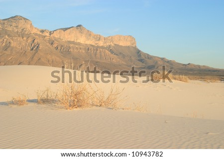 Gypsum Sand Dunes with El Capitan - Guadalupe Mountians National Park - stock photo